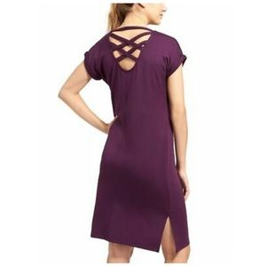 ATHLETA Criss Cross Back T Shirt Dress Purple